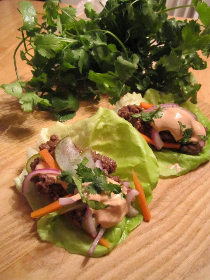 Garlic & Soy Beef Lettuce Wraps w/ Banh Mi Pickled Veggies & Chipotle Sauce