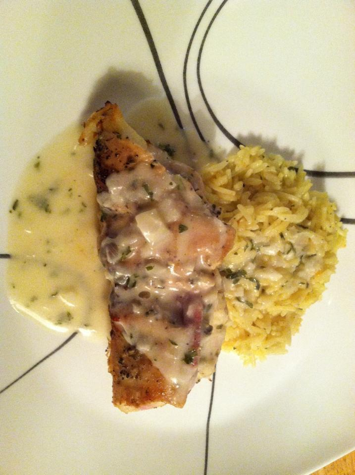 Chicken Stuffed w/ Proscuitto & Mozzarella in a Lemon Garlic Sauce