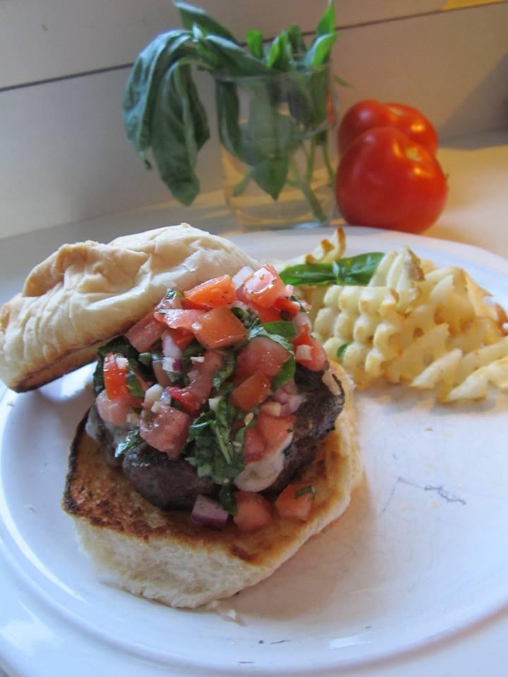 Grilled Bruschetta Burger w/ Toasted Garlic Bun